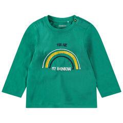 Tee-shirt manches longues en jersey avec arc-en-ciel et message au dos