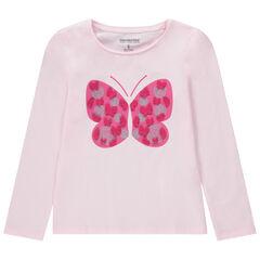 T-shirt manches longues avec papillon en relief