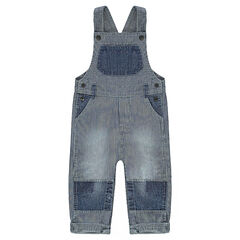 Salopette en jeans avec rayures et empiècements unis