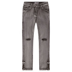 Junior - Jeans 7/8ème délavé avec déchirures aux genoux