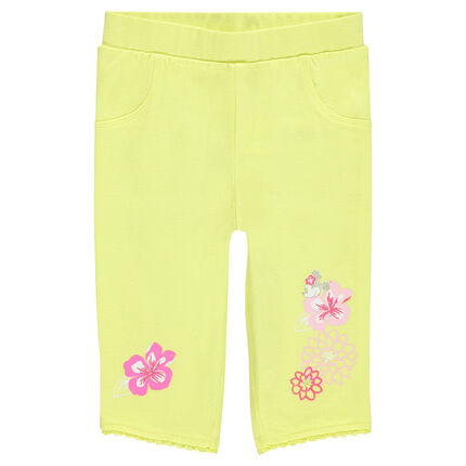 Legging jaune avec print fleurs et Minnie Disney