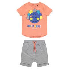 Ensemble avec tee-shirt patch ©Smiley et bermuda à poches