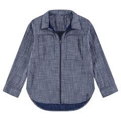 Chemise manches longues en coton avec ouverture zippée