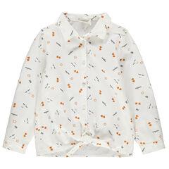 Chemise manches longues à nouer imprimée all-over