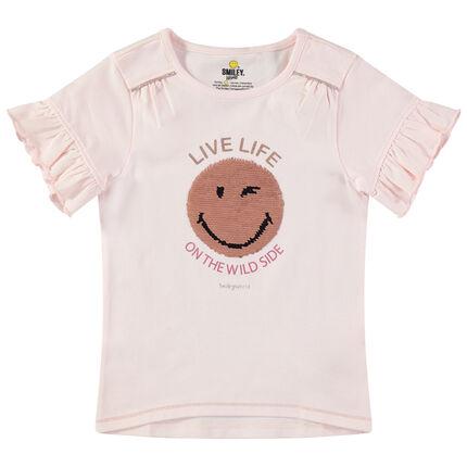 T-shirt à manches courtes volantées avec Smiley en sequins magiques