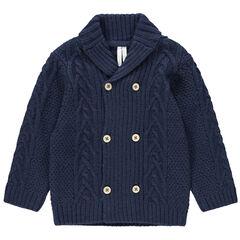 Gilet en tricot avec col châle et double boutonnière
