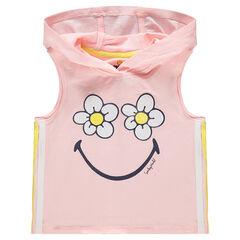 Débardeur à capuche avec fleurs et ©Smiley printés