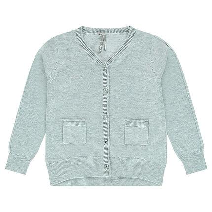 Junior - Gilet en tricot uni avec fil pailleté