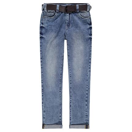 Junior - Jeans effet used avec ceinture effet cuir amovible
