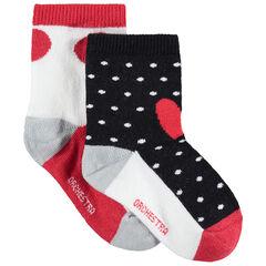 Lot de 2 paires de chaussettes à pois contrastés