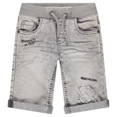 Bermuda en jeans gris avec taille élastiquée et inscriptions printées
