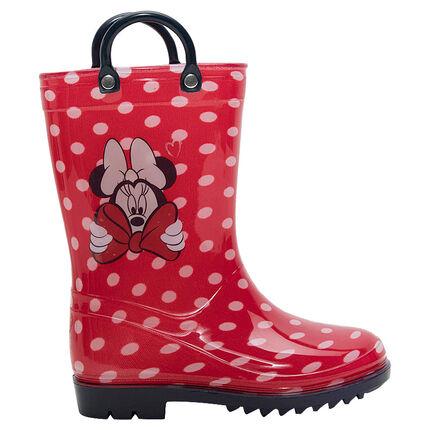 Bottes de pluie en caoutchouc à pois all-over avec print Minnie Disney du 28 au 32