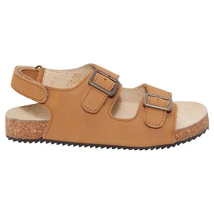 Nu pieds en cuir camel avec boucles métal du 29 au 35