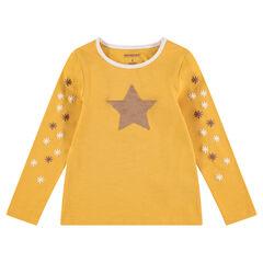Tee-shirt manches longues en jersey avec étoile en sequins magiques