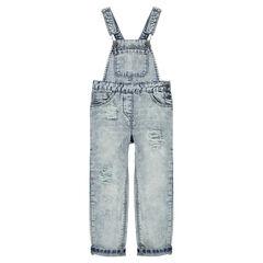 Junior - Salopette en jeans effet used