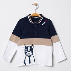 Polo tricolore col teddy print bouledogue français