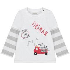 T-shirt manches longues effet 2 en 1 print camion de pompier