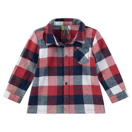Chemise manches longues en flanelle à carreaux contrastés