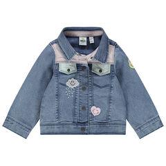 Veste en jean à badges Smiley et empiècements contrastés
