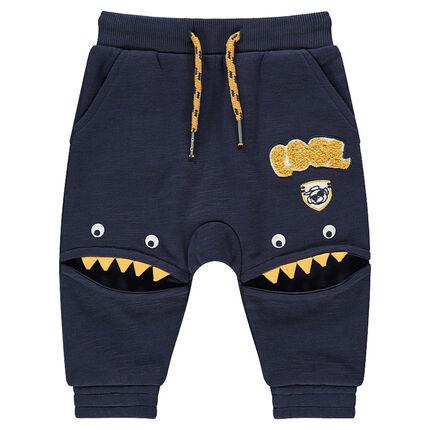 Pantalon de jogging en molleton slub avec découpes forme monstres
