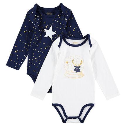 Lot de 2 bodies manches longues esprit Noël avec imprimés étoiles et renne