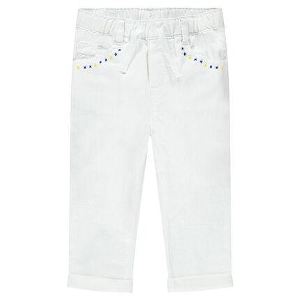 Pantalon en coton et lin avec broderies