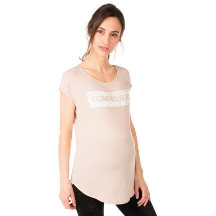 Tee-shirt de grossesse manches courtes avec inscription crinkle