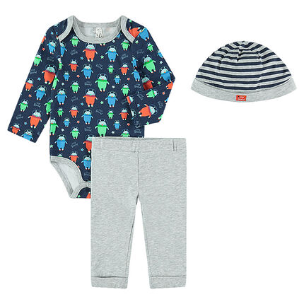 Ensemble body manches slongues imprimé all-over avec pantalon et bonnet rayé