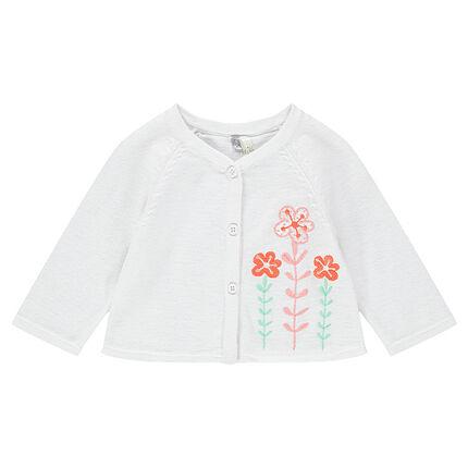 Gilet naissance en tricot avec fleurs brodées