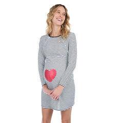 Chemise de nuit rayée de grossesse et d'allaitement print coeur