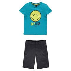 Pyjama en jersey manches courtes print ©Smiley