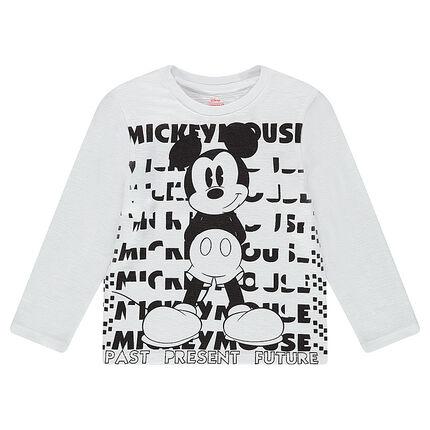 Tee-shirt manches longues en jersey slub avec print ©Disney Mickey