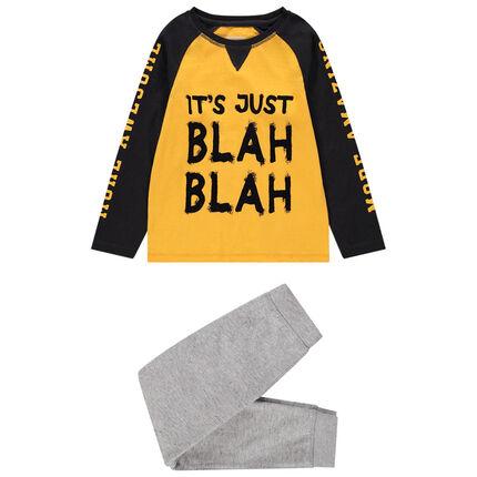 Pyjama en jersey bicolore à message printé