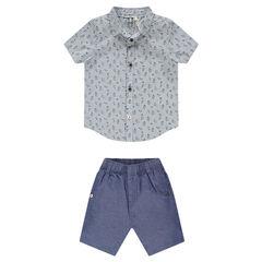 Ensemble chemise manches courtes et pantalon en chambray