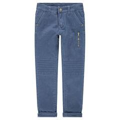 Pantalon surteint bleu clair avec poche zippée