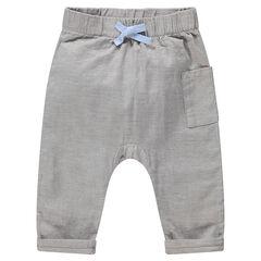 Pantalon en coton à taille élastiquée et poche plaquée