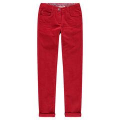 Junior - Pantalon en velours uni effet crinkle