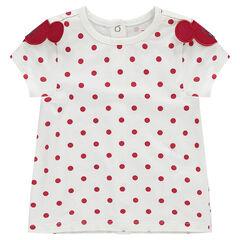 Tee-shirt manches courtes à pois Disney avec sertis Minnie
