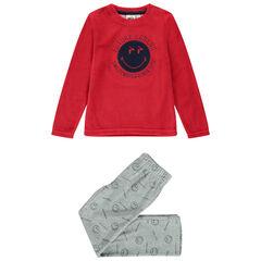 Pyjama en velours bicolore print SmileyWorld pour enfant garçon , Orchestra