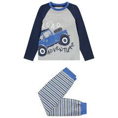 Pyjama en coton bio print 4x4 et rayures , Orchestra