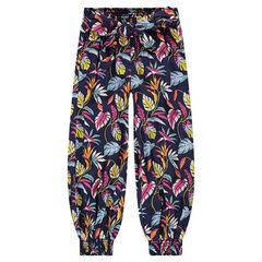Pantalon fluide esprit sarouel avec motif végétal all-over