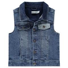 Veste en jeans sans manches effet used avec poches