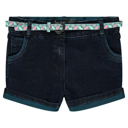 Short en jeans avec ceinture imprimée amovible