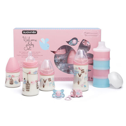 Coffret biberons Welcome Baby - Rose