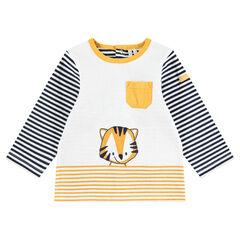 Tee-shirt manche longues en jersey avec rayures et tigre printé