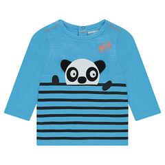 Tee-shirt manches longues en jersey avec rayures placées et panda en relief