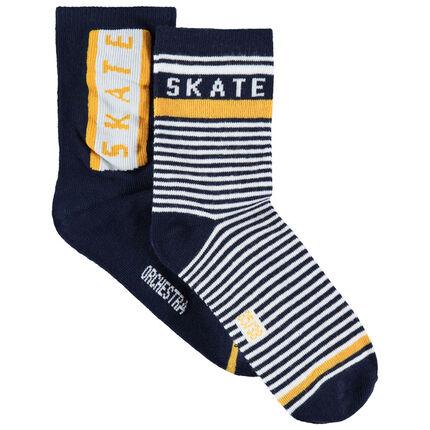 Lot de 2 paires de chaussettes à rayures et inscriptions en jacquard