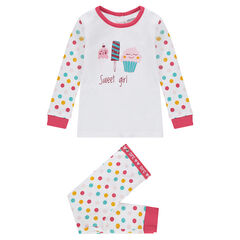 Pyjama en jersey avec pois contrastés et glaces printées