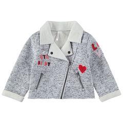 Veste chinée à col cranté avec inscriptions patchées et poches zippées