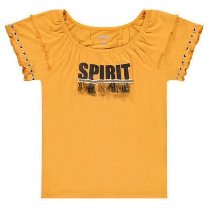 Junior - Tee-shirt manches courtes en viscose avec pompons
